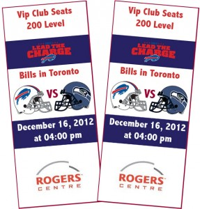 Pair of Tickets to Bills in Toronto